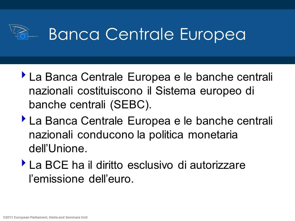 ©2013 European Parliament, Visits and Seminars Unit Banca Centrale Europea  La Banca Centrale Europea e le banche centrali nazionali costituiscono il