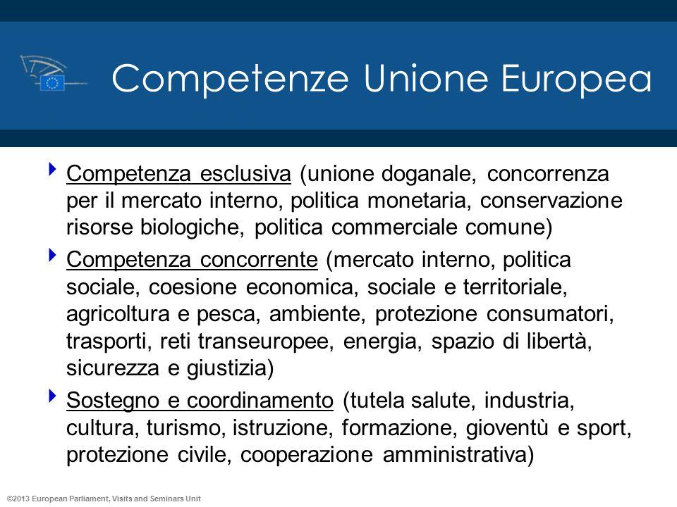 ©2013 European Parliament, Visits and Seminars Unit Competenze Unione Europea  Competenza esclusiva (unione doganale, concorrenza per il mercato inte
