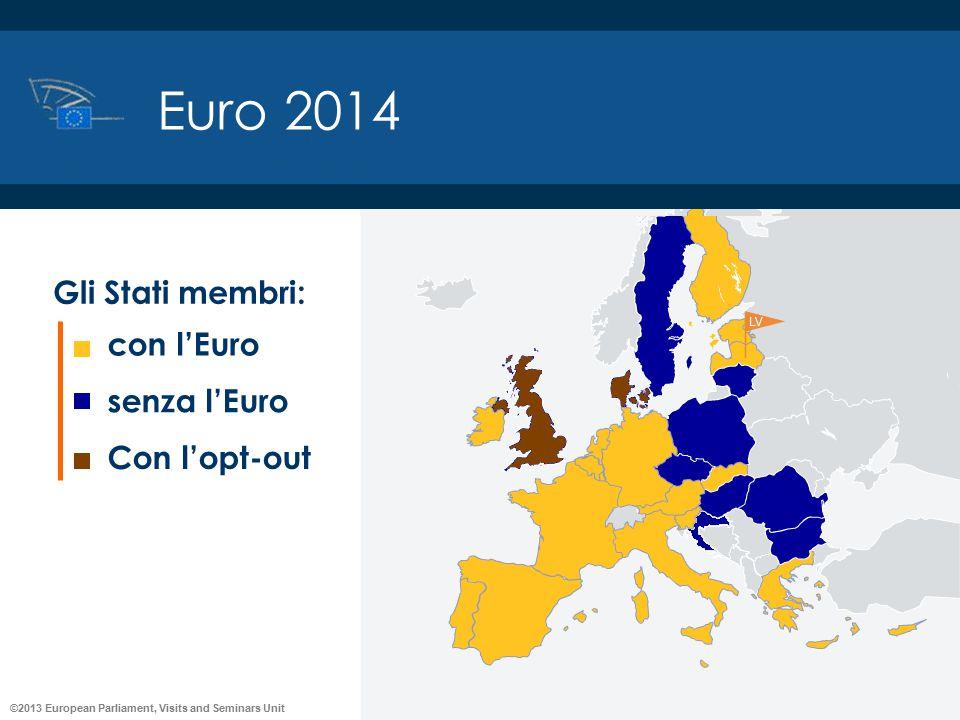 ©2013 European Parliament, Visits and Seminars Unit Euro 2014 con l'Euro senza l'Euro Con l'opt-out Gli Stati membri: