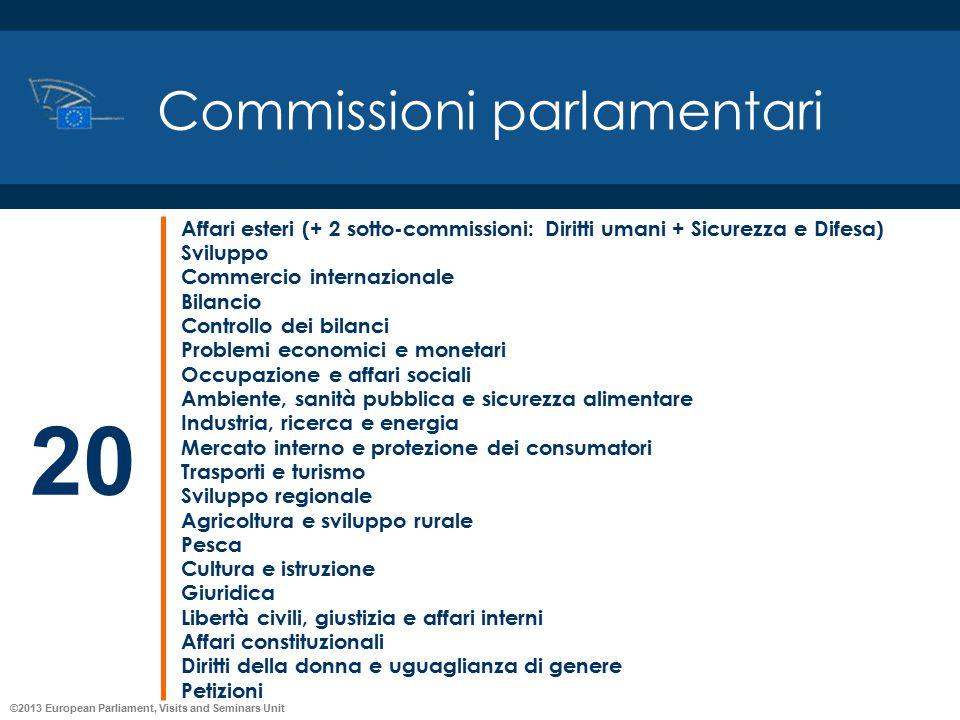 ©2013 European Parliament, Visits and Seminars Unit Commissioni parlamentari Affari esteri (+ 2 sotto-commissioni: Diritti umani + Sicurezza e Difesa)