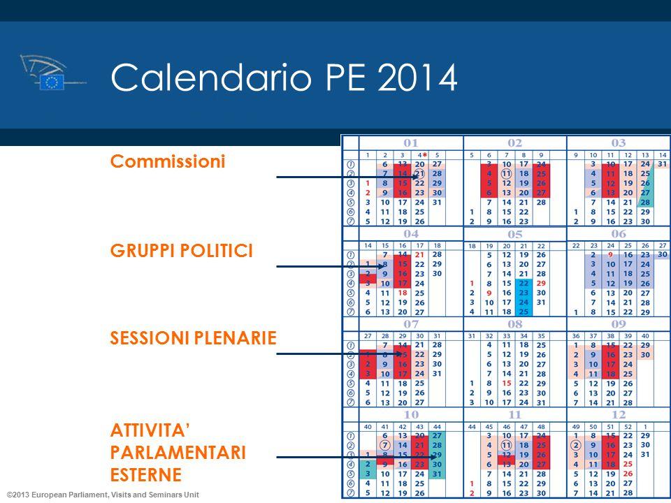 ©2013 European Parliament, Visits and Seminars Unit Commissioni GRUPPI POLITICI SESSIONI PLENARIE ATTIVITA' PARLAMENTARI ESTERNE Calendario PE 2014