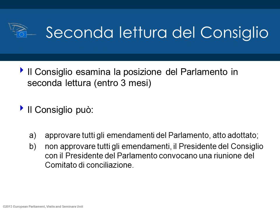 ©2013 European Parliament, Visits and Seminars Unit Seconda lettura del Consiglio  Il Consiglio esamina la posizione del Parlamento in seconda lettur