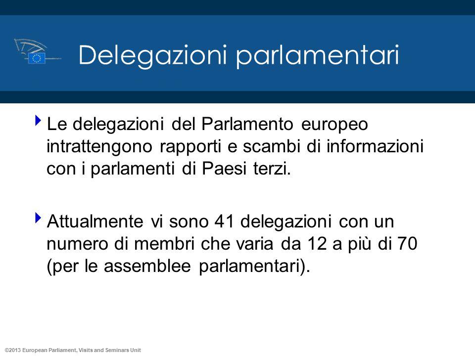 ©2013 European Parliament, Visits and Seminars Unit Delegazioni parlamentari  Le delegazioni del Parlamento europeo intrattengono rapporti e scambi d