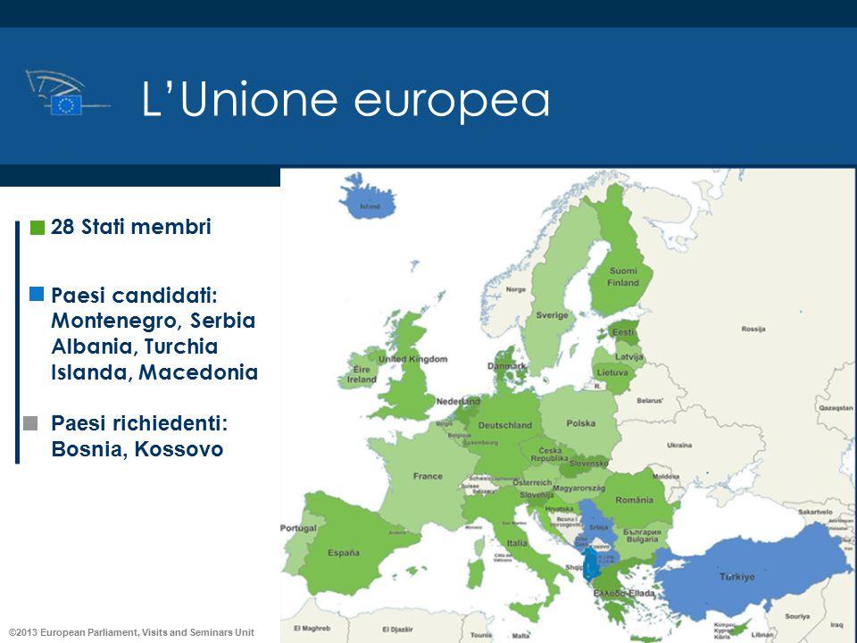 ©2013 European Parliament, Visits and Seminars Unit L'Unione europea 28 Stati membri Paesi candidati: Montenegro, Serbia Albania, Turchia Islanda, Mac