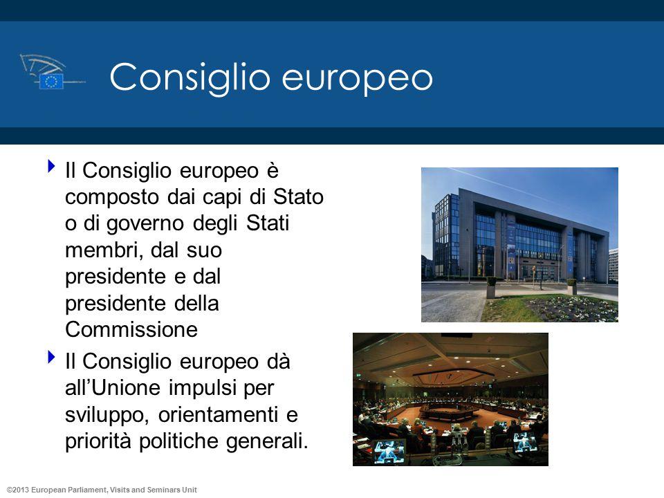 ©2013 European Parliament, Visits and Seminars Unit Consiglio europeo  Il Consiglio europeo è composto dai capi di Stato o di governo degli Stati mem