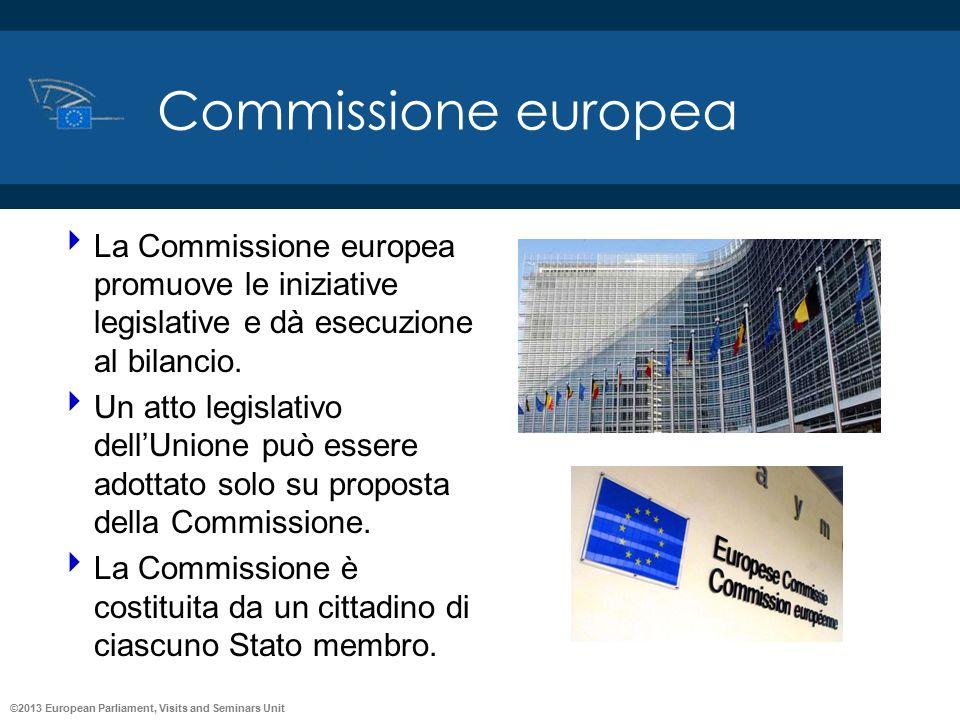 ©2013 European Parliament, Visits and Seminars Unit Commissione europea  La Commissione europea promuove le iniziative legislative e dà esecuzione al