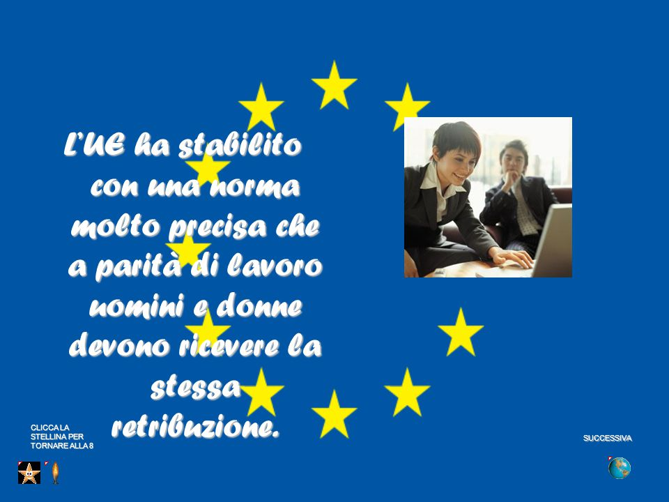 L'UE ha stabilito con una norma molto precisa che a parità di lavoro uomini e donne devono ricevere la stessa retribuzione.