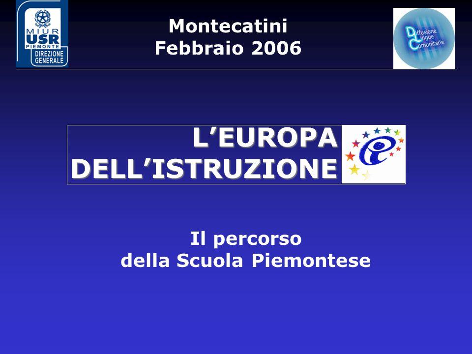 Montecatini Febbraio 2006 Il percorso della Scuola Piemontese L'EUROPA DELL'ISTRUZIONE