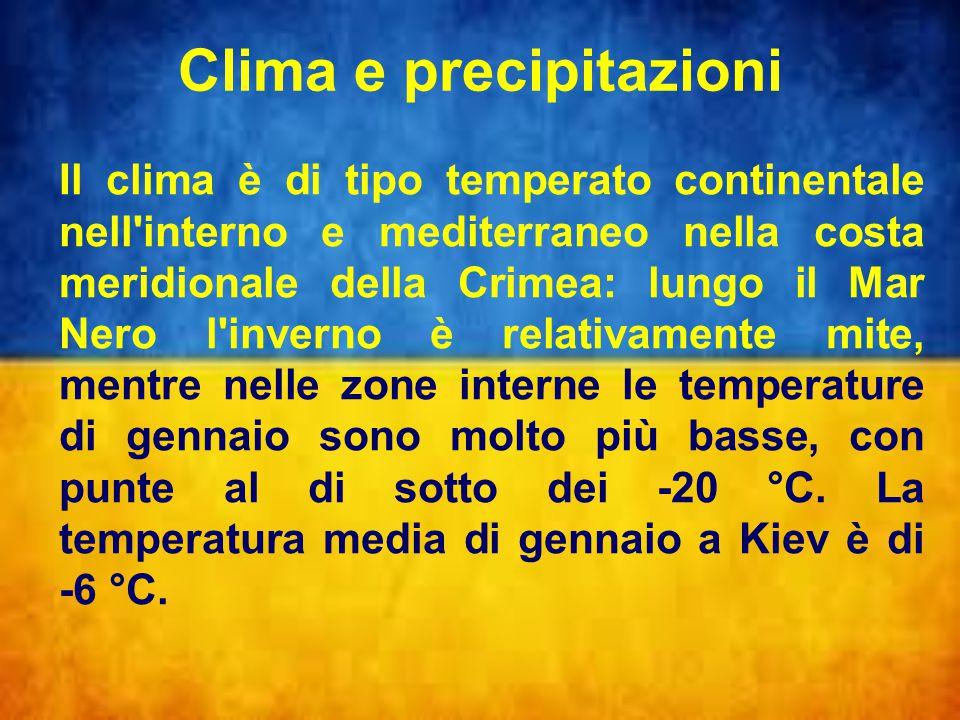 Clima e precipitazioni Il clima è di tipo temperato continentale nell interno e mediterraneo nella costa meridionale della Crimea: lungo il Mar Nero l inverno è relativamente mite, mentre nelle zone interne le temperature di gennaio sono molto più basse, con punte al di sotto dei -20 °C.