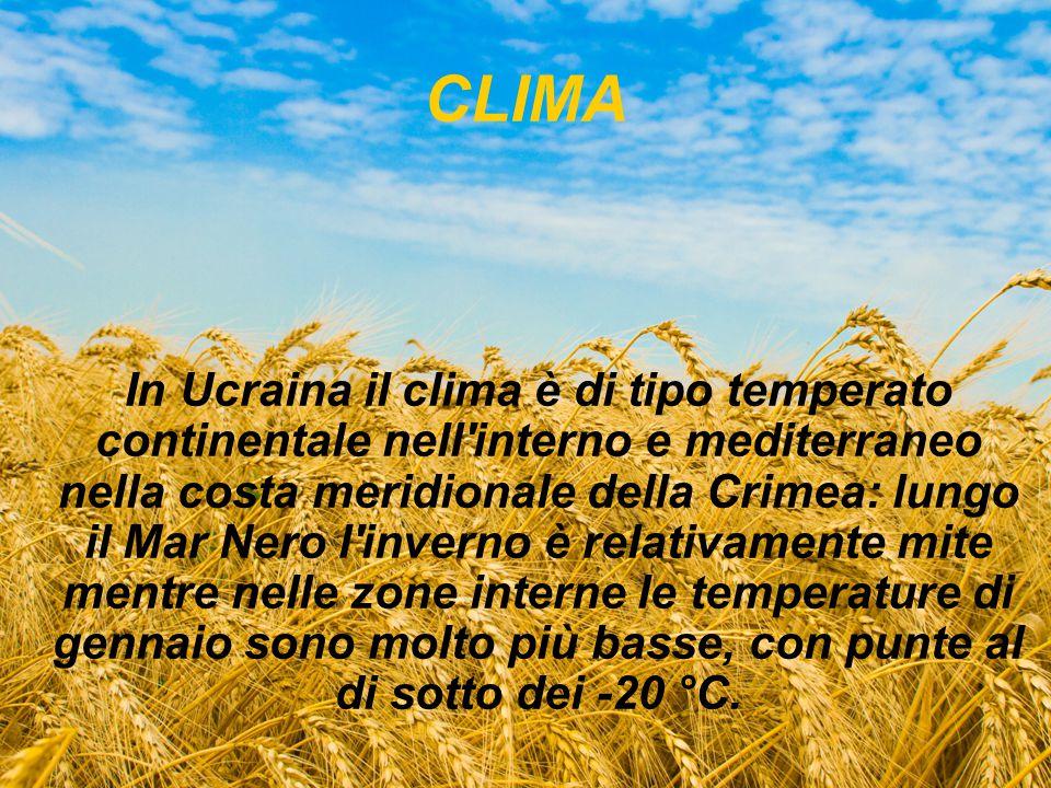 CLIMA In Ucraina il clima è di tipo temperato continentale nell'interno e mediterraneo nella costa meridionale della Crimea: lungo il Mar Nero l'inver