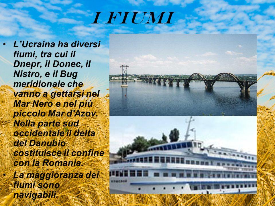 I FIUMI L'Ucraina ha diversi fiumi, tra cui il Dnepr, il Donec, il Nistro, e il Bug meridionale che vanno a gettarsi nel Mar Nero e nel più piccolo Ma