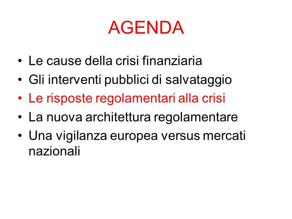 AGENDA Le cause della crisi finanziaria Gli interventi pubblici di salvataggio Le risposte regolamentari alla crisi La nuova architettura regolamentar
