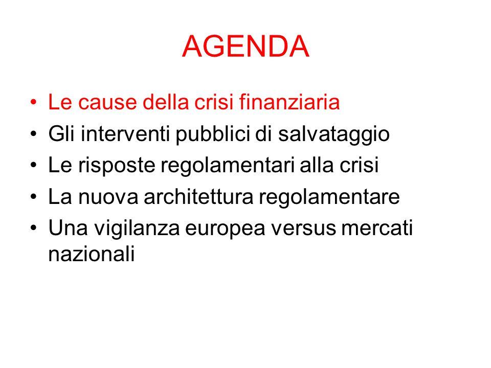 AGENDA Le cause della crisi finanziaria Gli interventi pubblici di salvataggio Le risposte regolamentari alla crisi La nuova architettura regolamentare Una vigilanza europea versus mercati nazionali