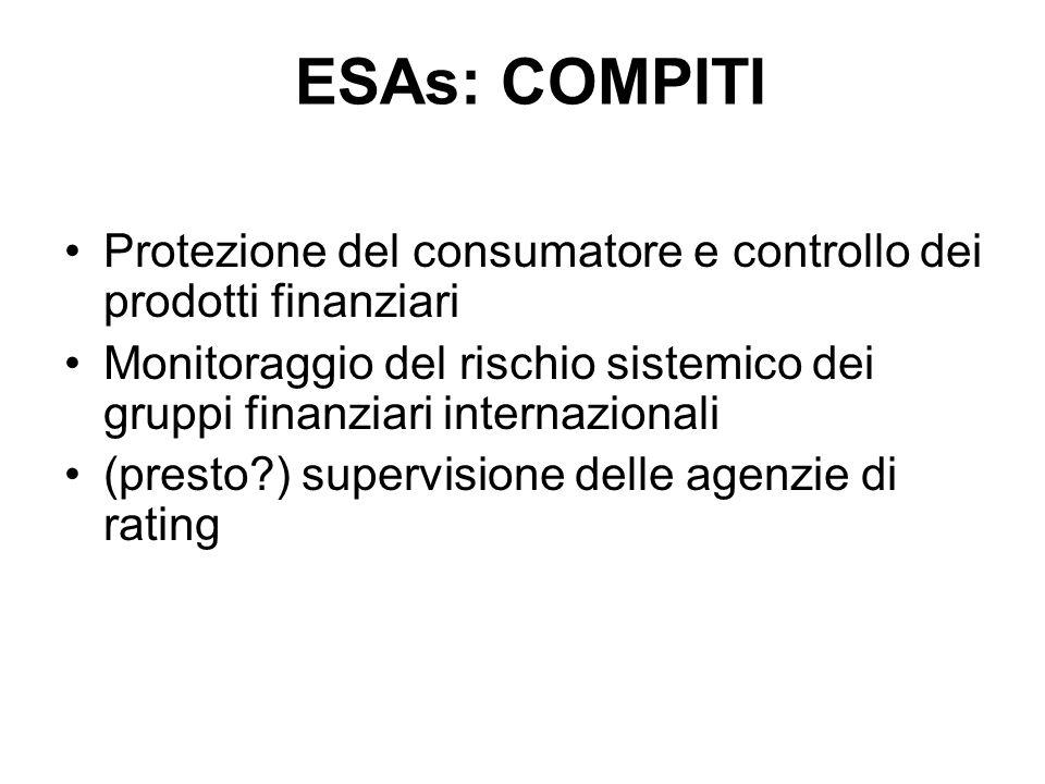 Protezione del consumatore e controllo dei prodotti finanziari Monitoraggio del rischio sistemico dei gruppi finanziari internazionali (presto?) super
