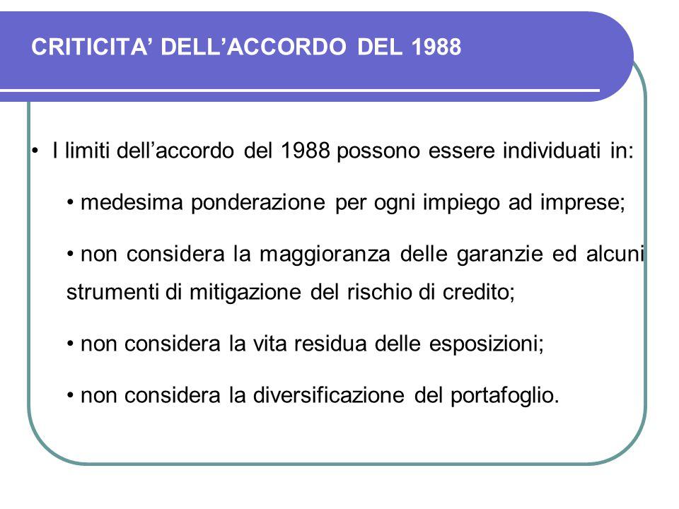 CRITICITA' DELL'ACCORDO DEL 1988 I limiti dell'accordo del 1988 possono essere individuati in: medesima ponderazione per ogni impiego ad imprese; non