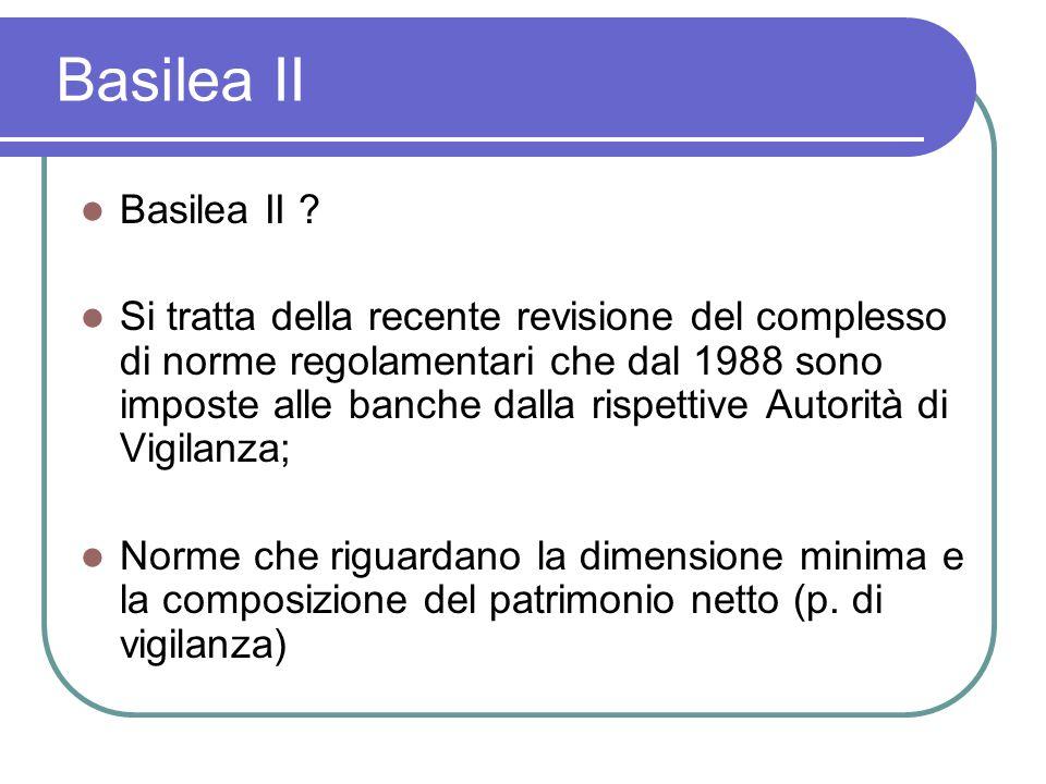 Basilea II Basilea II ? Si tratta della recente revisione del complesso di norme regolamentari che dal 1988 sono imposte alle banche dalla rispettive
