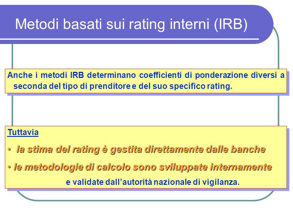 Anche i metodi IRB determinano coefficienti di ponderazione diversi a seconda del tipo di prenditore e del suo specifico rating. Tuttavia la stima del