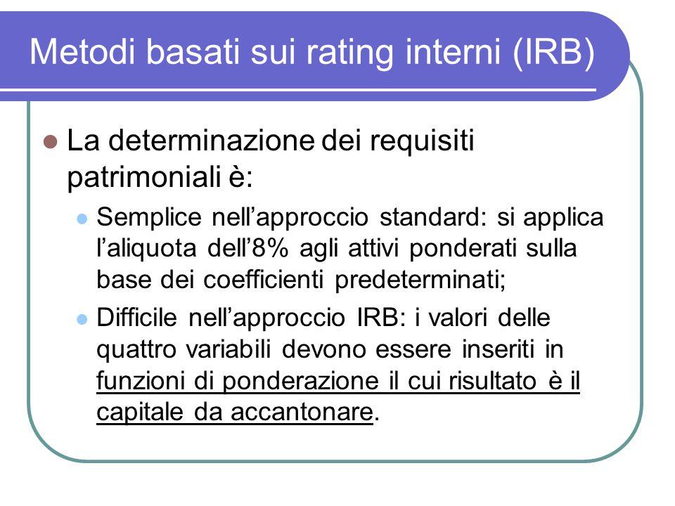 Metodi basati sui rating interni (IRB) La determinazione dei requisiti patrimoniali è: Semplice nell'approccio standard: si applica l'aliquota dell'8%