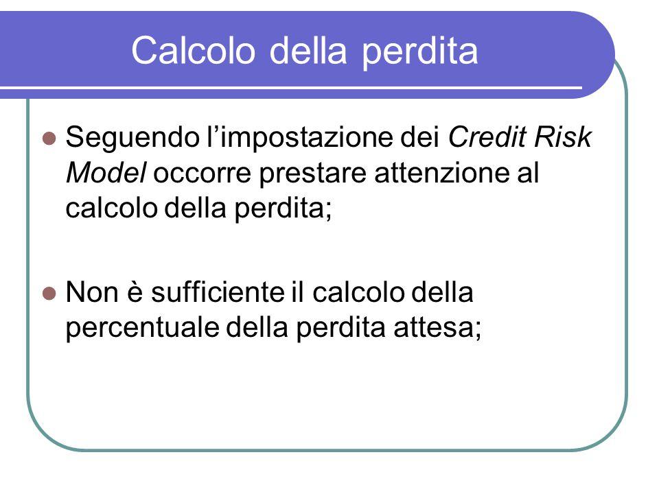 Calcolo della perdita Seguendo l'impostazione dei Credit Risk Model occorre prestare attenzione al calcolo della perdita; Non è sufficiente il calcolo