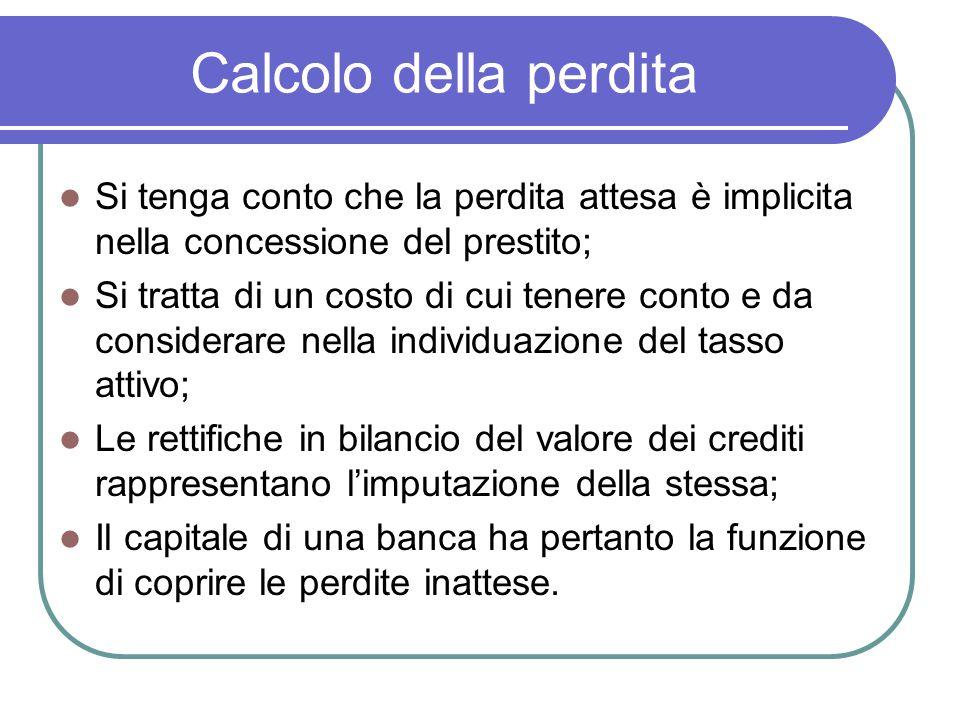 Calcolo della perdita Si tenga conto che la perdita attesa è implicita nella concessione del prestito; Si tratta di un costo di cui tenere conto e da