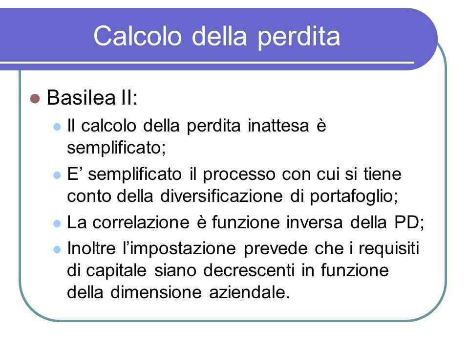 Calcolo della perdita Basilea II: Il calcolo della perdita inattesa è semplificato; E' semplificato il processo con cui si tiene conto della diversifi