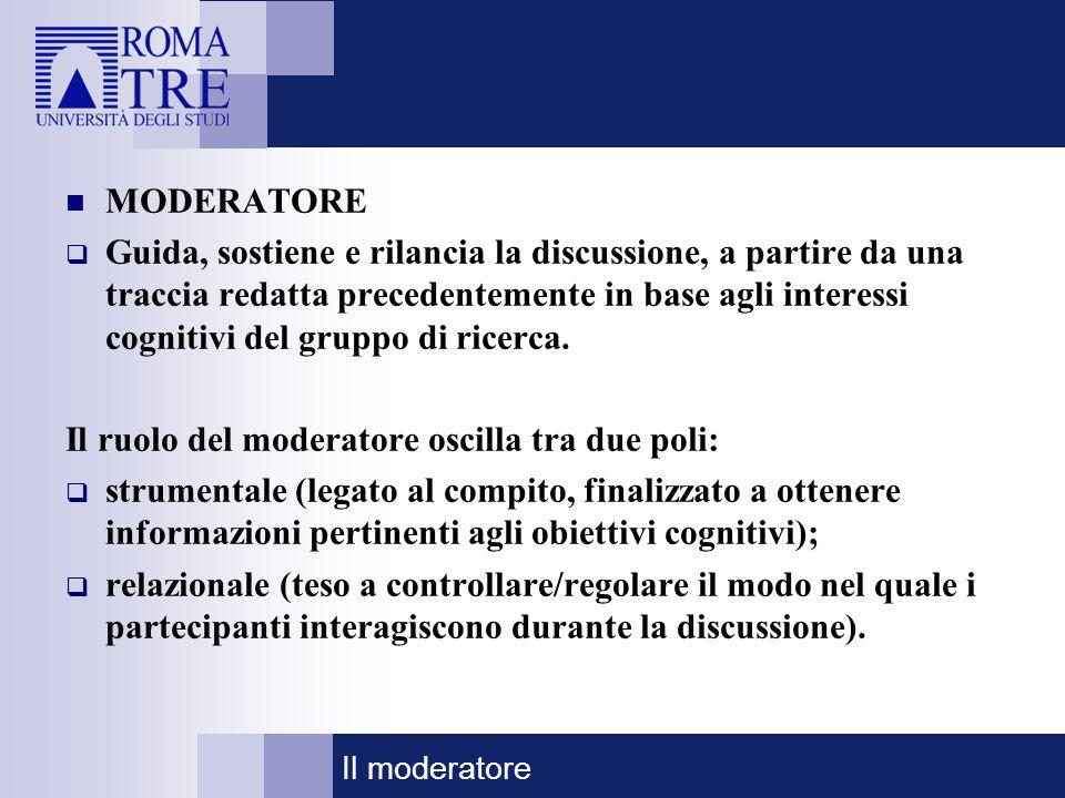 MODERATORE  Guida, sostiene e rilancia la discussione, a partire da una traccia redatta precedentemente in base agli interessi cognitivi del gruppo d