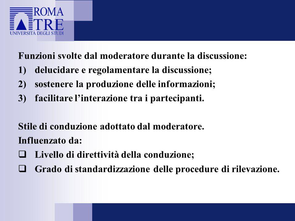 Funzioni svolte dal moderatore durante la discussione: 1)delucidare e regolamentare la discussione; 2)sostenere la produzione delle informazioni; 3)fa