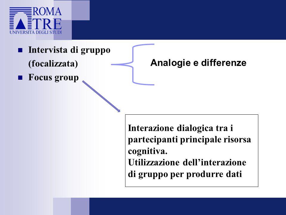 Intervista di gruppo (focalizzata) Focus group Analogie e differenze Interazione dialogica tra i partecipanti principale risorsa cognitiva. Utilizzazi