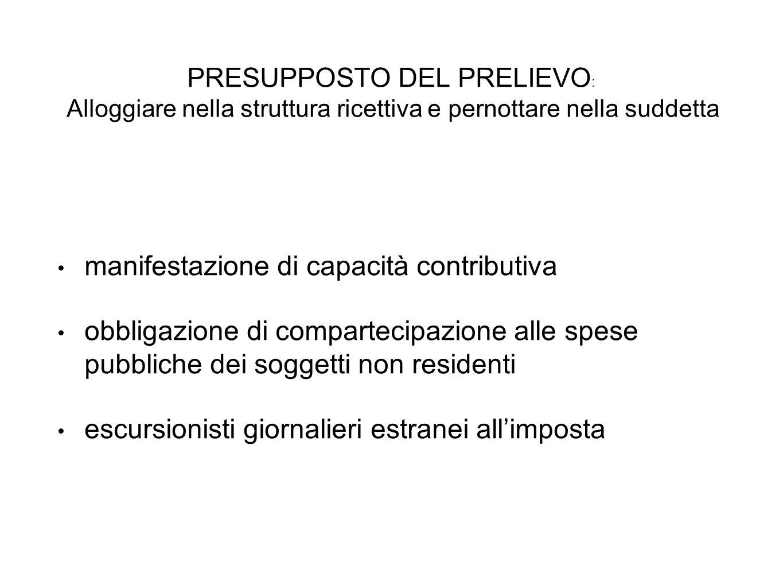 PRESUPPOSTO DEL PRELIEVO : Alloggiare nella struttura ricettiva e pernottare nella suddetta manifestazione di capacità contributiva obbligazione di co
