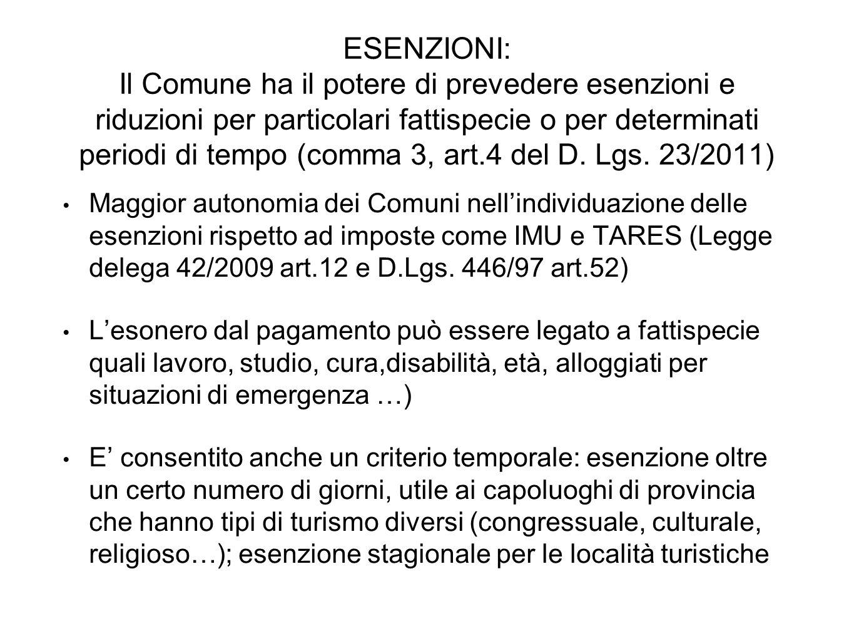 ESENZIONI: Il Comune ha il potere di prevedere esenzioni e riduzioni per particolari fattispecie o per determinati periodi di tempo (comma 3, art.4 de