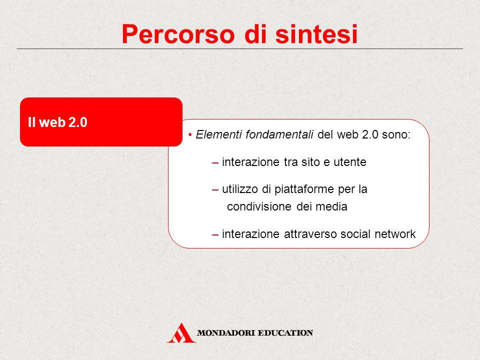 Percorso di sintesi Il web 2.0 Elementi fondamentali del web 2.0 sono: – interazione tra sito e utente – utilizzo di piattaforme per la condivisione dei media – interazione attraverso social network