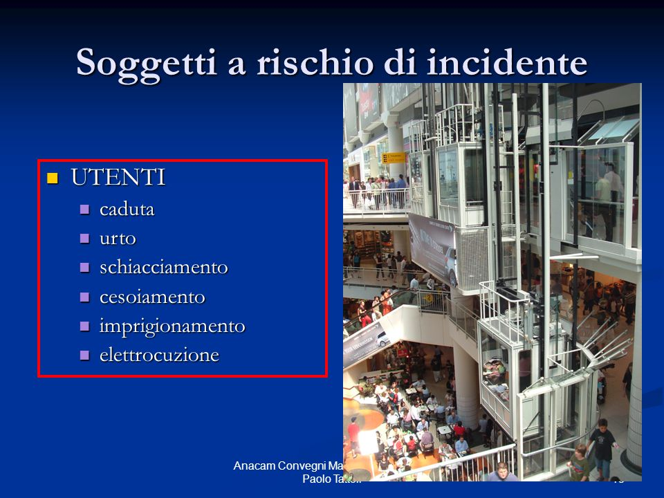 13 Anacam Convegni Manutenzione 2005 - Paolo Tattoli Soggetti a rischio di incidente UTENTI UTENTI caduta caduta urto urto schiacciamento schiacciamen