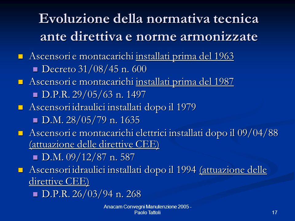 17 Anacam Convegni Manutenzione 2005 - Paolo Tattoli Evoluzione della normativa tecnica ante direttiva e norme armonizzate Ascensori e montacarichi in