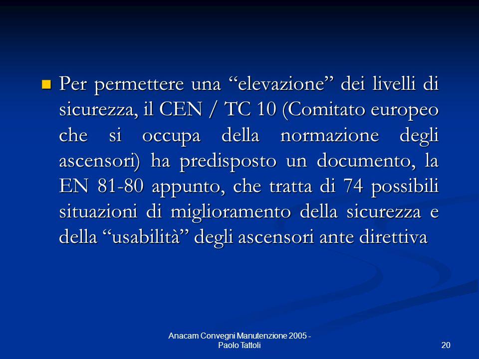 """20 Anacam Convegni Manutenzione 2005 - Paolo Tattoli Per permettere una """"elevazione"""" dei livelli di sicurezza, il CEN / TC 10 (Comitato europeo che si"""