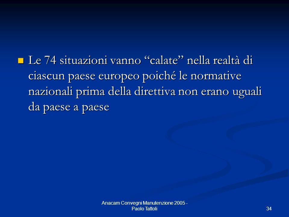 """34 Anacam Convegni Manutenzione 2005 - Paolo Tattoli Le 74 situazioni vanno """"calate"""" nella realtà di ciascun paese europeo poiché le normative naziona"""
