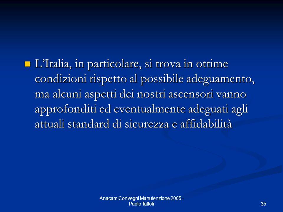35 Anacam Convegni Manutenzione 2005 - Paolo Tattoli L'Italia, in particolare, si trova in ottime condizioni rispetto al possibile adeguamento, ma alc