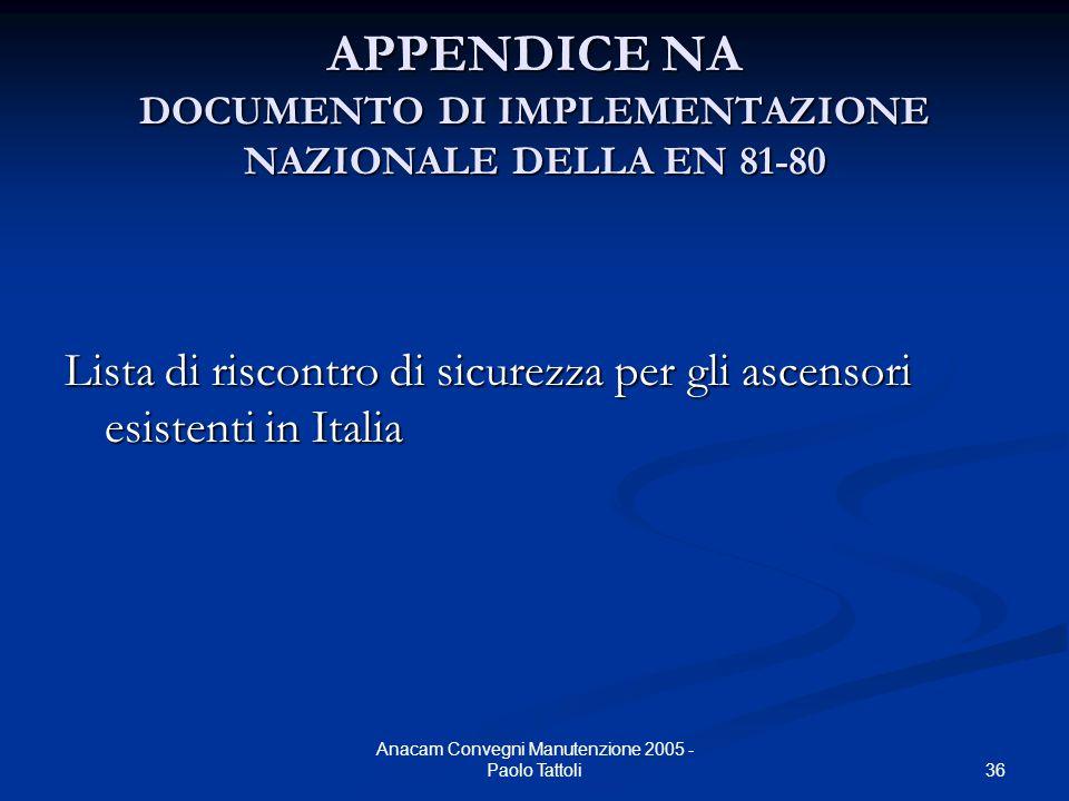 36 Anacam Convegni Manutenzione 2005 - Paolo Tattoli APPENDICE NA DOCUMENTO DI IMPLEMENTAZIONE NAZIONALE DELLA EN 81-80 Lista di riscontro di sicurezz
