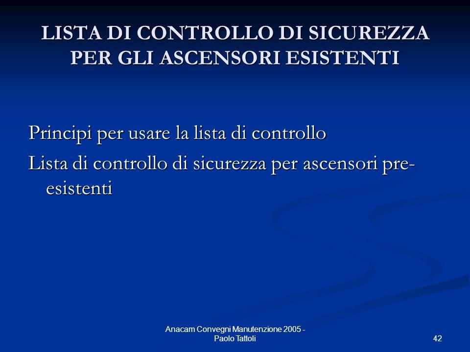 42 Anacam Convegni Manutenzione 2005 - Paolo Tattoli LISTA DI CONTROLLO DI SICUREZZA PER GLI ASCENSORI ESISTENTI Principi per usare la lista di contro