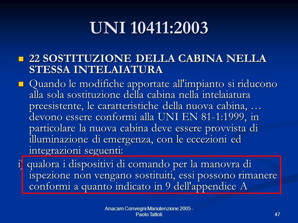 47 Anacam Convegni Manutenzione 2005 - Paolo Tattoli UNI 10411:2003 22 SOSTITUZIONE DELLA CABINA NELLA STESSA INTELAIATURA 22 SOSTITUZIONE DELLA CABIN