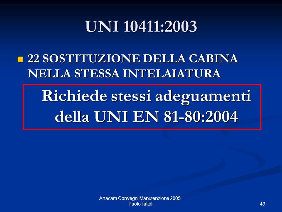 49 Anacam Convegni Manutenzione 2005 - Paolo Tattoli UNI 10411:2003 22 SOSTITUZIONE DELLA CABINA NELLA STESSA INTELAIATURA 22 SOSTITUZIONE DELLA CABIN
