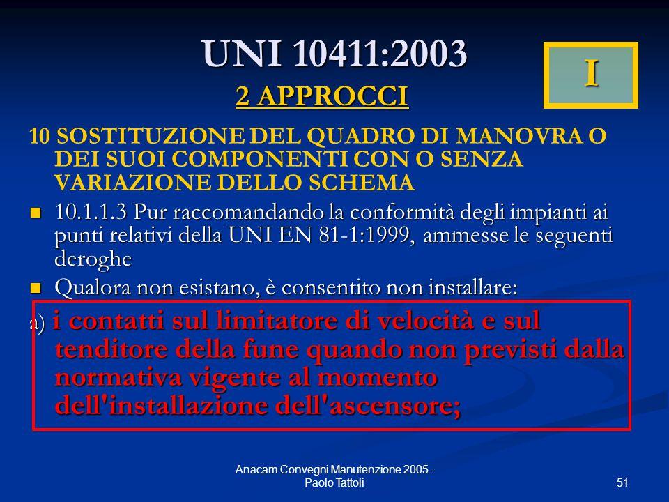 51 Anacam Convegni Manutenzione 2005 - Paolo Tattoli UNI 10411:2003 10 SOSTITUZIONE DEL QUADRO DI MANOVRA O DEI SUOI COMPONENTI CON O SENZA VARIAZIONE