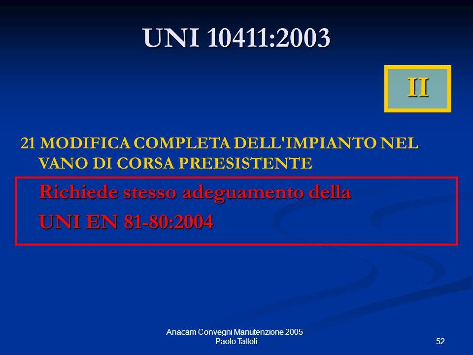 52 Anacam Convegni Manutenzione 2005 - Paolo Tattoli UNI 10411:2003 21 MODIFICA COMPLETA DELL'IMPIANTO NEL VANO DI CORSA PREESISTENTE Richiede stesso