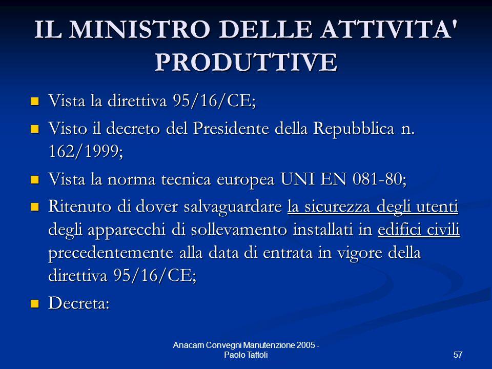 57 Anacam Convegni Manutenzione 2005 - Paolo Tattoli IL MINISTRO DELLE ATTIVITA' PRODUTTIVE Vista la direttiva 95/16/CE; Vista la direttiva 95/16/CE;