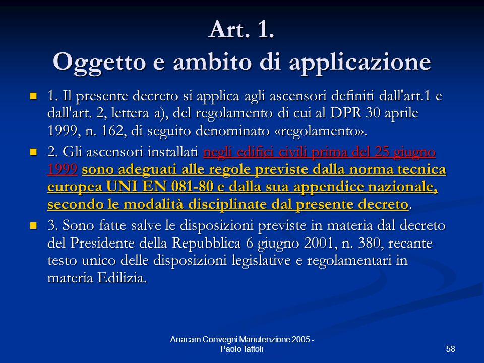 58 Anacam Convegni Manutenzione 2005 - Paolo Tattoli Art. 1. Oggetto e ambito di applicazione 1. Il presente decreto si applica agli ascensori definit