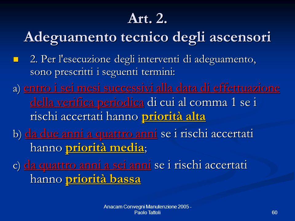 60 Anacam Convegni Manutenzione 2005 - Paolo Tattoli Art. 2. Adeguamento tecnico degli ascensori 2. Per l'esecuzione degli interventi di adeguamento,