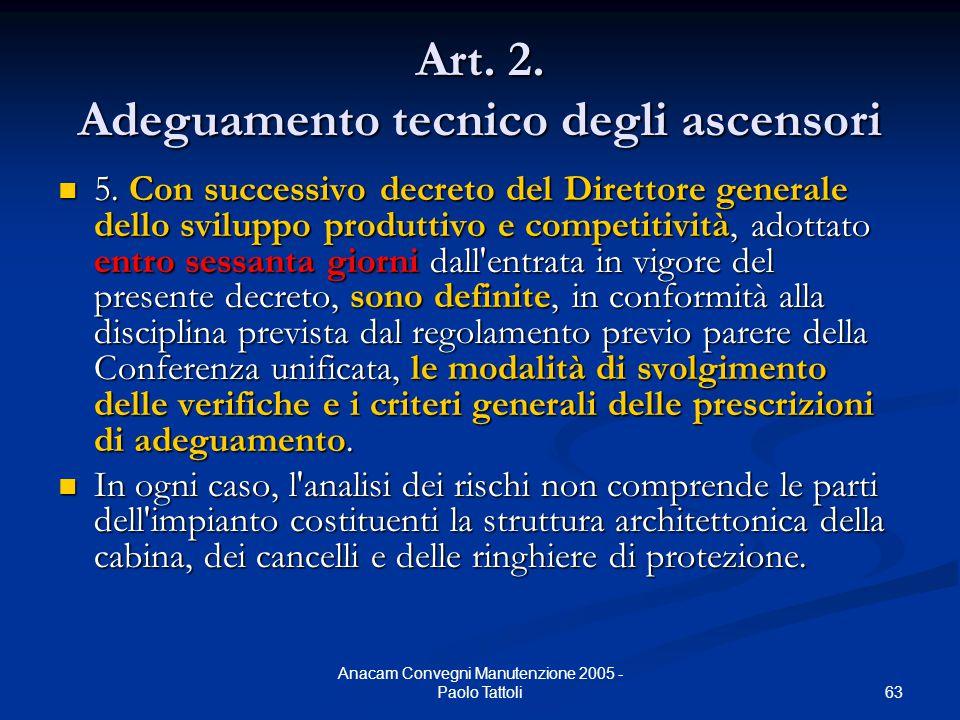 63 Anacam Convegni Manutenzione 2005 - Paolo Tattoli Art. 2. Adeguamento tecnico degli ascensori 5. Con successivo decreto del Direttore generale dell