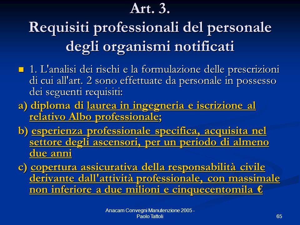 65 Anacam Convegni Manutenzione 2005 - Paolo Tattoli Art. 3. Requisiti professionali del personale degli organismi notificati 1. L'analisi dei rischi