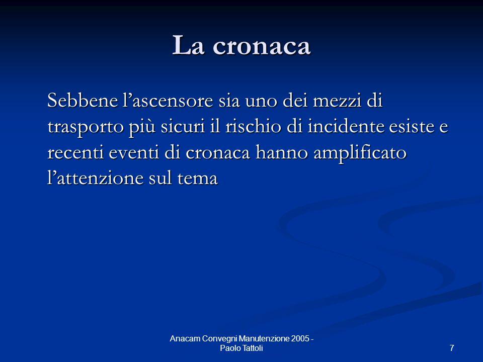 7 Anacam Convegni Manutenzione 2005 - Paolo Tattoli La cronaca Sebbene l'ascensore sia uno dei mezzi di trasporto più sicuri il rischio di incidente e
