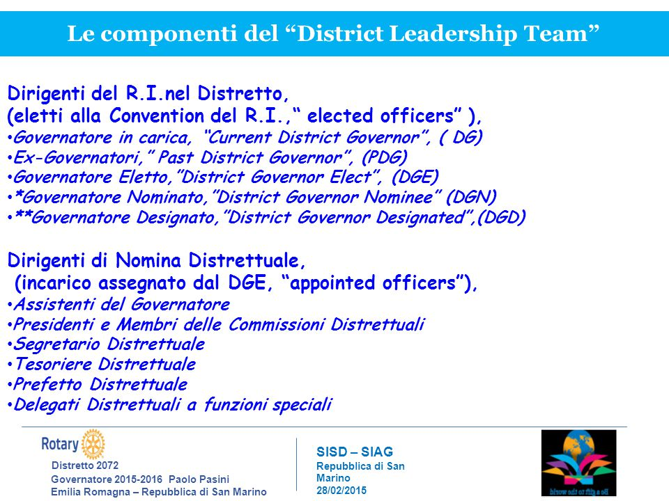 Distretto 2072 Governatore 2015-2016 Paolo Pasini Emilia Romagna – Repubblica di San Marino SISD – SIAG Repubblica di San Marino 28/02/2015 Le componenti del District Leadership Team Dirigenti del R.I.nel Distretto, (eletti alla Convention del R.I., elected officers ), Governatore in carica, Current District Governor , ( DG) Ex-Governatori, Past District Governor , (PDG) Governatore Eletto, District Governor Elect , (DGE) *Governatore Nominato, District Governor Nominee (DGN) **Governatore Designato, District Governor Designated ,(DGD) Dirigenti di Nomina Distrettuale, (incarico assegnato dal DGE, appointed officers ), Assistenti del Governatore Presidenti e Membri delle Commissioni Distrettuali Segretario Distrettuale Tesoriere Distrettuale Prefetto Distrettuale Delegati Distrettuali a funzioni speciali
