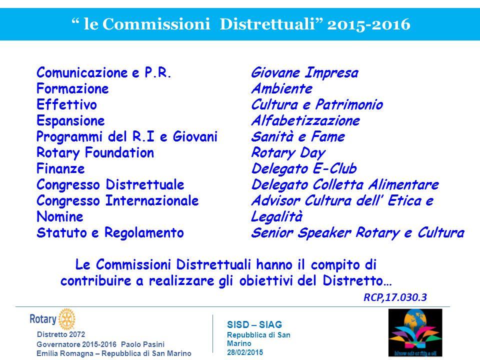 Distretto 2072 Governatore 2015-2016 Paolo Pasini Emilia Romagna – Repubblica di San Marino SISD – SIAG Repubblica di San Marino 28/02/2015 le Commissioni Distrettuali 2015-2016 Comunicazione e P.R.